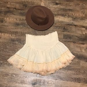 FP One | Free People Cream Strapless Boho Lace Top